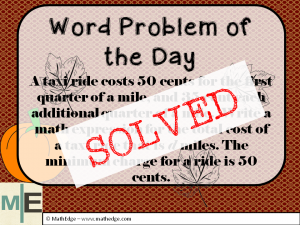Word Problem of the Day SOLVED